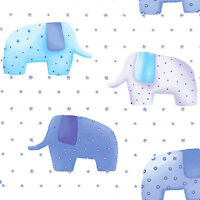 """SOFT COTTON BEDDING DRESS CLOTHES FABRIC CUTE ELEPHANT BISCUTE ALLOVER BLUE 44""""W"""