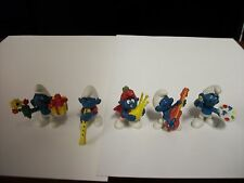 Lot of 5 1970's Vintage Smurf Peyo Schleich Figures with Bagpipe Player Smurf