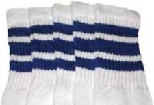 "30"" OVER THE KNEE WHITE tube socks with ROYAL BLUE stripes style 1 (30-20)"