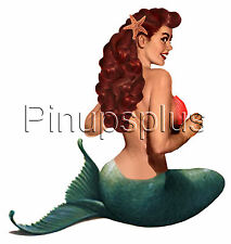 Sexy Mermaid Pinup Tattoo style Vintage Waterslide Decal Sticker Bomber Art S250