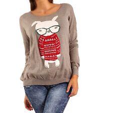 Feine hüftlange Damen-Pullover mit Tiermuster