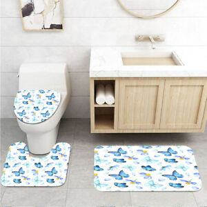 Blue Butterfly and Daisy Toilet Cover Rug Mat Contour Rug Set 3pcs
