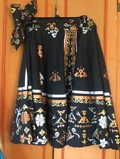 Anazing 1950 Huge Swing Skirt Black Copper Silver Foil  Print Tribal  Folkloric
