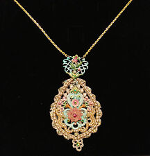 Michal Negrin Lace Medallion Swarovski Crystal Necklace NEW! $279