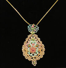Michal Negrin Lace Medallion Swarovski Crystal Necklace NEW! $279