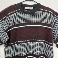Vintage Jantzen Sweater Mens Size Large Red Gray White Made In USA