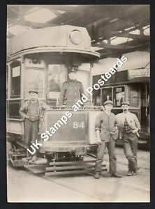 Potteries Electric Tramways Car 84 & Staff At Goldenhill Depot Large Photograph