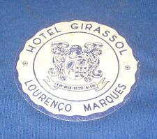 Vintage Hotel Girassol, Lourenco Marques 1960s Drinks Coaster