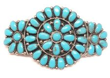 Hair Barrette by J. Williams Navajo stabilize Turquoise Cluster Sterling Silver