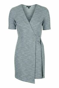 Topshop  Belted Wrap Mini Dress grey 6 8 10   new with tags