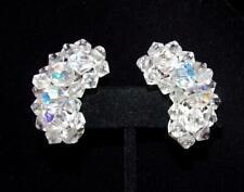 New listing Beautiful Clear & Iridised Bi-cone Bead Ear Climber Style Clip On Earrings