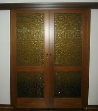 Timber Sliding Doors Amber Stained Glass Solid.