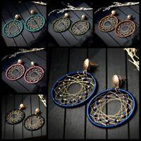 Big Round Bead Dream Weave Women Tassel Earrings Dangle Ear Stud Hook Jewelry