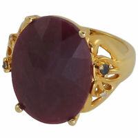 Damen-Ring echt Silber 925 Sterling mit Rubin Saphir Diamant Silberring gold