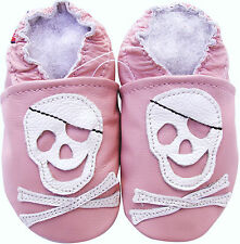 carozoo soft sole leather baby shoes pirate pink 2-3y