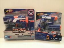 Lot Of 2: Nerf Micro Shots Stryfe Blasetr w? 2 Darts/N-Strike Jolt