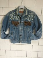 STONEWASH LEVI'S VINTAGE RETRO FESTIVAL 90'S BLUE CUSTOM WOMENS DENIM JACKET #93