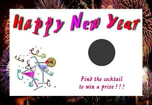 10 New Year Scratch Cards - Size A6 - Novelty Party Game N1