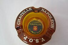 Chatelle Napoleon VSOP Cognac Camus 1863 round amber glass ashtray vintage