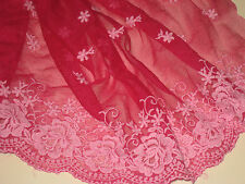 """2 yards in 12"""" width orchid pink and red color high end cotton&tulle trim"""