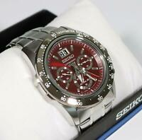 Seiko Men's Quartz Chronograph Red Dial Watch SPC243P1