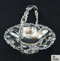 STUNNING VICTORIAN SILVER PLATED EMBOSSED CAKE SANDWICH FRUIT BASKET WITH HANDLE