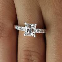 1.65 Carat Princess Cut Diamond Engagement Ring SI1/D White Gold 18k 6284