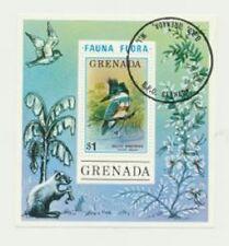 Belted Kingfisher Bird Grenada 1976 Flora Fauna Topical Souvenir Sheet