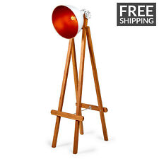 NEW Large Easel Modern Floor Lamp Bowl Shade Wood Stand Light Home Bed Lighting
