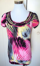 NWOT! HeartSoul Bright Pink Yellow Black Embroidered Dressy Shirt Top Juniors XS