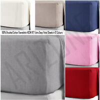 "Brushed 100% Cotton Flannelette Extra Deep Fitted Sheets 40CM/16"" in 12 Colours"
