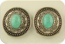 Faux Turquoise Beads Conchos Filigree Flower Frames Silver 2 Hole Sliders QTY 2