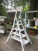 Vtg Primitive Wood painters step  Ladder Shelf barn wood Wedding Display