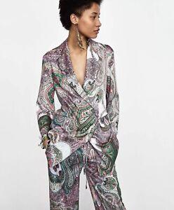 Zara Paisley Satin 2pc Trousers Pants Kimono Blazer Jacket Top Set M L NWOT