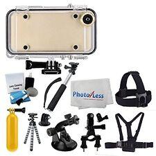 Waterproof iPhone6/6S Case w GoPro Mount + WA Lens+Selfie Stick + Head Mount