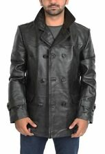 Leather Collared Regular Size Peacoat for Men