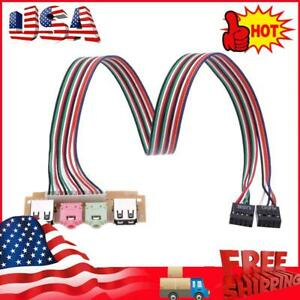 2 USB 2.0 Ports PC Computer Case Front Panel USB Audio Mic Earphone Cable