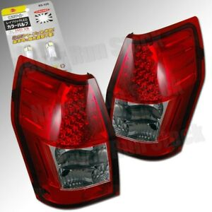 DODGE MAGNUM OE STYLE RED LENS LED TAIL LIGHTS + LED WHITE LICENSE PLATE BULBS