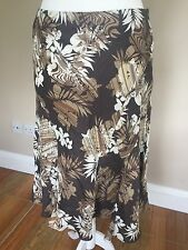 PHASE EIGHT Brown Floral Flare Linen Skirt Size 14 Holiday Cruise Smart Casual