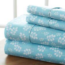 ienjoy Home 4 Piece Sheet Set Wheatfield Patterned, Queen, Pale Blue