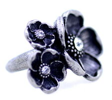Vintage retro style antique silver coloured plum flower cluster ring. UK Size N