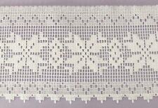 5 YARDS 6 3/4 INCH WIDE WHITE LACE TRIM FOR TABLECLOTHES CURTAINS AND MORE