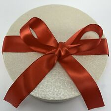 Elegant Ivory Filigree Round Gift Box w/ Red Satin Ribbon for Bow on Lid Top New