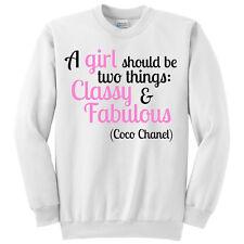 """Felpa girocollo """"Classy and Fabulous"""" citazione Coco Chanel"""