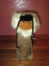 VINTAGE ALASKAN LOOKING DOLL WITH LEATHER FACE & ANIMAL FUR
