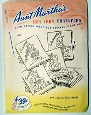 Aunt Martha's Clever Pixie Motifs Embroidery Needlepoint Iron on Transfers