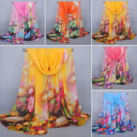 WO_ LC_ Fashion Women's printed Flower Soft silk Chiffon Scarf wrap shawl Stole