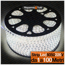 STRISCIA LED FLESSIBILE STRIP LED 5050 INTERNO ESTERNO 220V BOBINA DA 1 A 100 M.