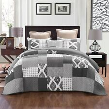 Quilts Coverlet King Single Size 195cm x 235cm  Grey  Includes1 Pillowcase