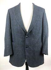 Nordstrom Mens 40R Navy Lambs Wool & Camel Hair Glen Plaid Blazer / Sports Coat